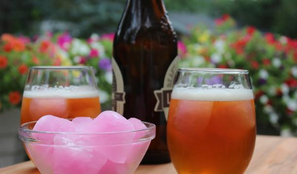 Beer and pink lemonade ice cubes makes the easiest, most refreshing cocktail ever