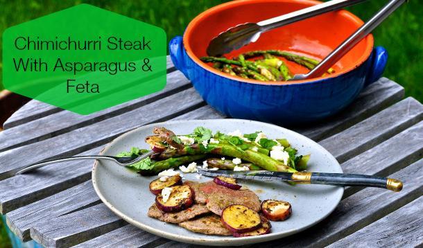 Chimichurri steak with asparagus and feta.