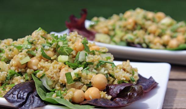 Cracked wheat - freekeh or bulgur - makes a great summery salad base