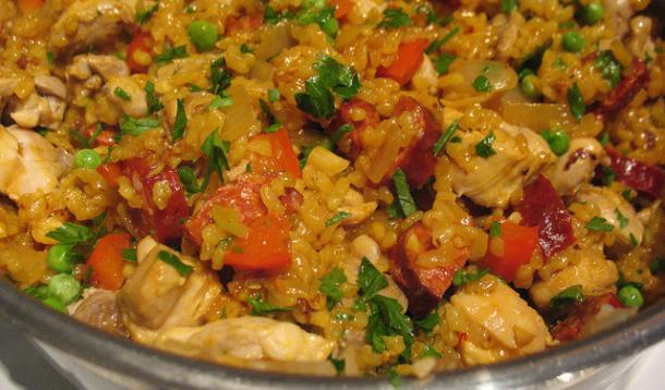 Quick Chicken Paella with Spicy Chorizo Recipe