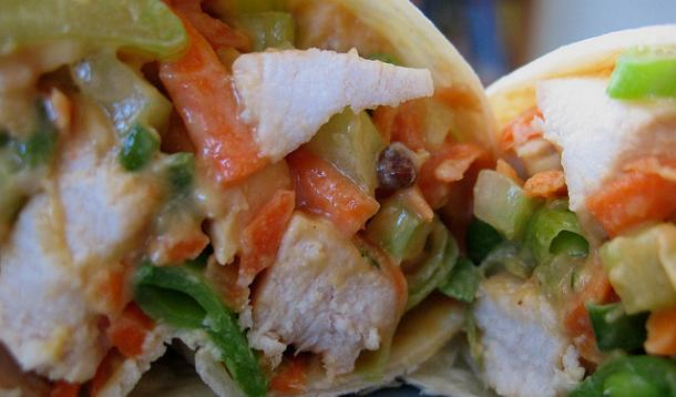 Asian Chicken Peanut Wraps Recipe