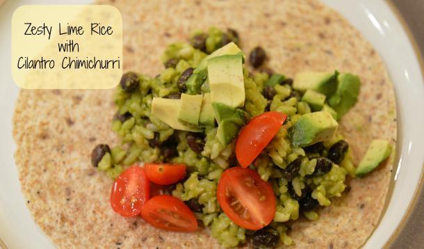 cilantro chimichurri with black beans, rice, tomato, and avocado