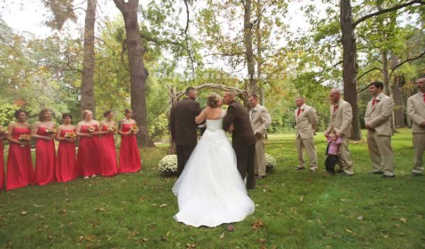 Father of the bride makes loving gesture