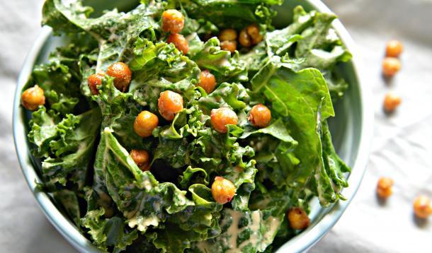 kale caesar salad with roasted chickpeas