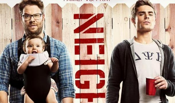 Seth Rogen (and baby) and Zac Efron