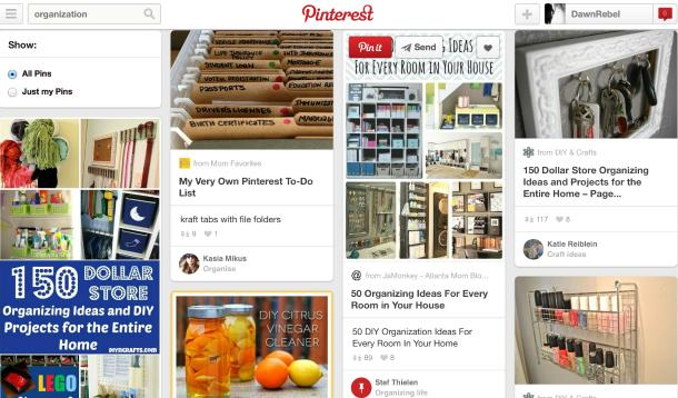 Pinterest organizing board