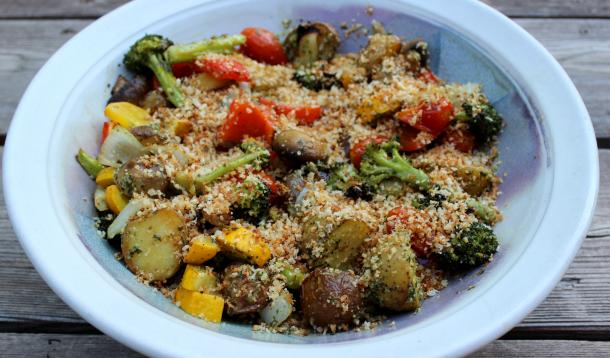 Roasted Vegetables with Pesto and Buttery Toasted Panko Bread Crumbs