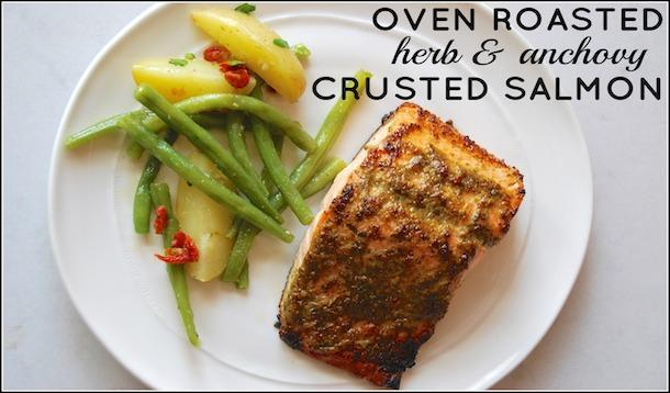 Oven Roasted Herb and Anchovy Crusted Salmon