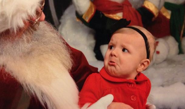 santa, photos, crying on santa, scared of santa, kids santa photos, funny santa photos, scared kids, comedy, jen warman