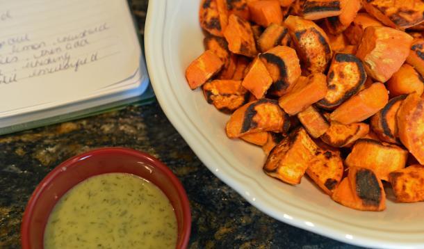 sweet potatoes with garlic aioli