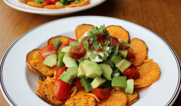 Crispy Sweet Potato Chips are the perfect base for this healthy nacho bowl