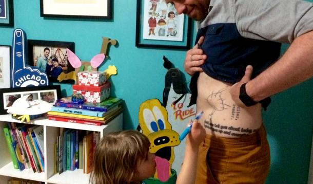 getting tattoos of kids art