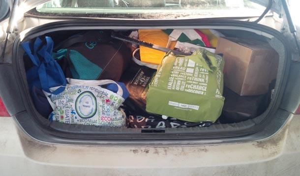 Loaded car trunk