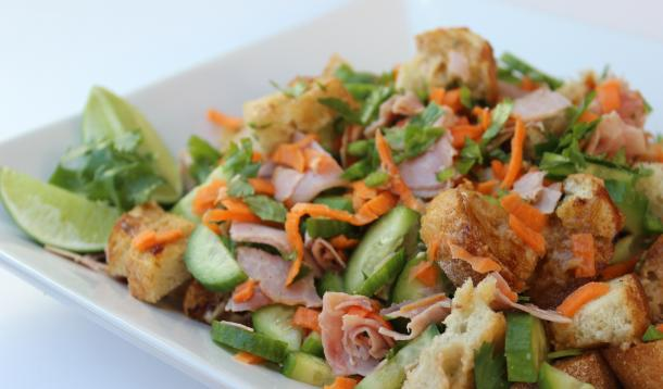 Vietnamese Bahn Mi Bread Salad is delicious and a great way to use leftover ham