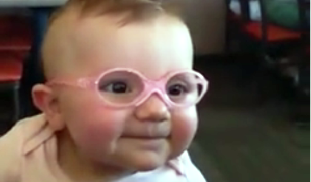 baby gets glasses and sees clearly for first time