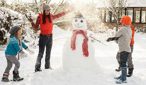 winter fun, building a snowman