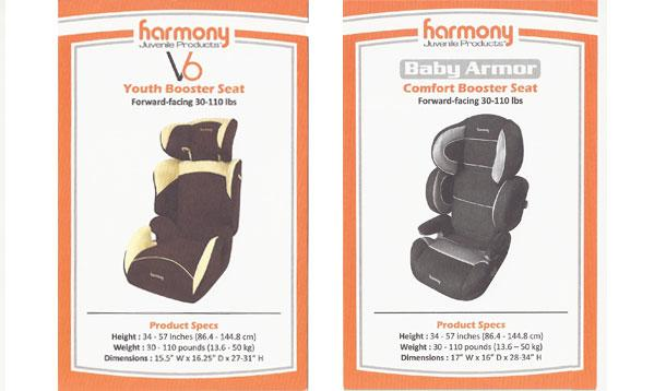 Recall Harmony Juvenile Products V7 Convertible Deluxe Car