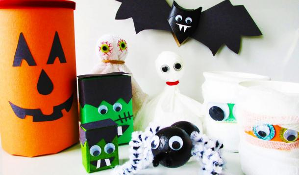 These 6 Boo-tiful and frugal homemadeHalloween decorations are the perfect easy crafts for your kids to make on a gloomy fall day! Recycled toilet paper rolls and juice boxes and other household items make these perfect for cheap DIY Halloween party decor or school art projects! | YummyMummyClub.ca