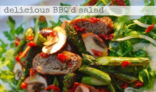 BBQ mushroom, asparagus and turkey sausage salad