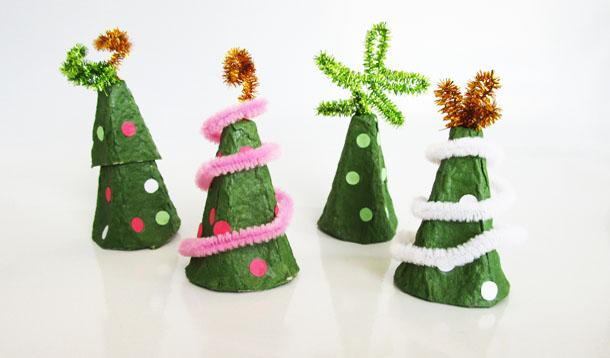 Make Christmas tree crafts by recycling egg cartons.