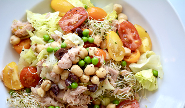 This easy Tuna and Vegetable Salad recipe is a hearty dish filling enough for dinner. It keeps well in the fridge for a great lunch the next day. Substitute with some canned or leftover cooked chicken breast if you like!   YMC