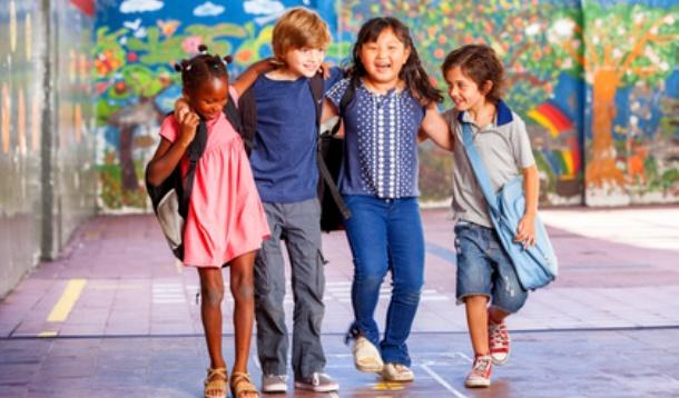 Happy kids going back to school
