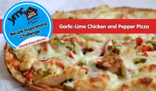 Tasty Garlic Lime Chicken And Pepper Pizza Recipe :: YummyMummyClub.ca