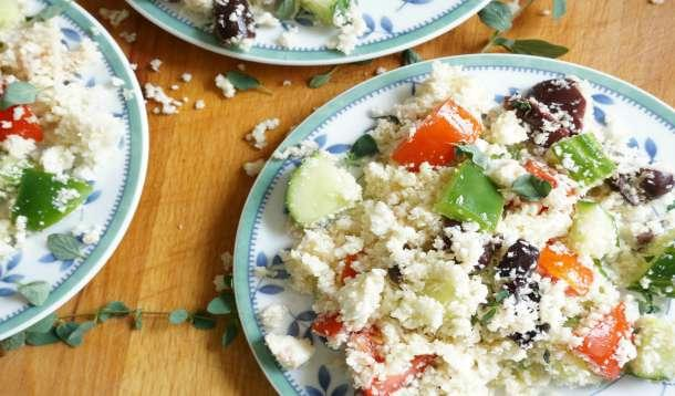 Greek Salad with Cauliflower Couscous