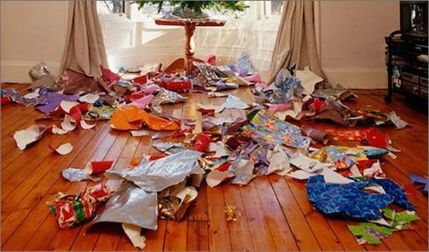 christmas wrapping mess