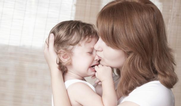Parent comforts child