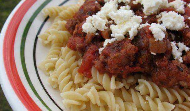 Meaty Lamb Pasta Sauce With Feta Recipe