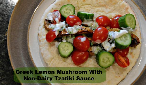 Greek Lemon Mushroom with pita and tzatiki