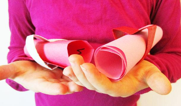 Create homemade Valentine's Day messages using recycled items from around the house