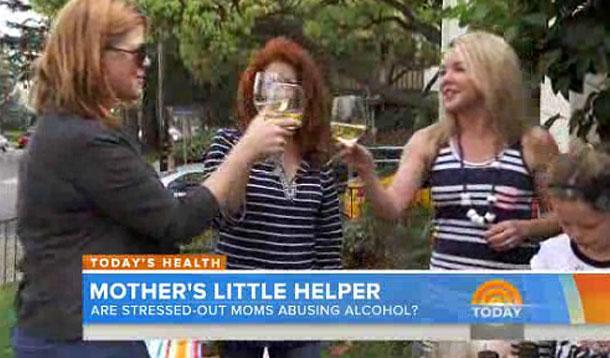 moms drinking wine