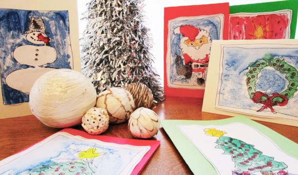 Handmade holiday greeting cards your kids can make yummymummyclub monoprint christmas cards for kids yummymummyclub m4hsunfo