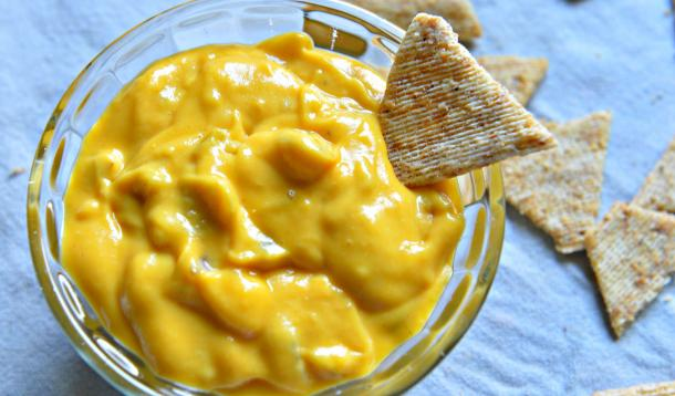 Vegan and nut-free nacho cheese sauce. It works great as a cheese sauce substitute for macaroni and cheese too!
