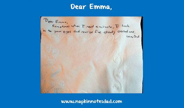 dad writes on napkins to daughter