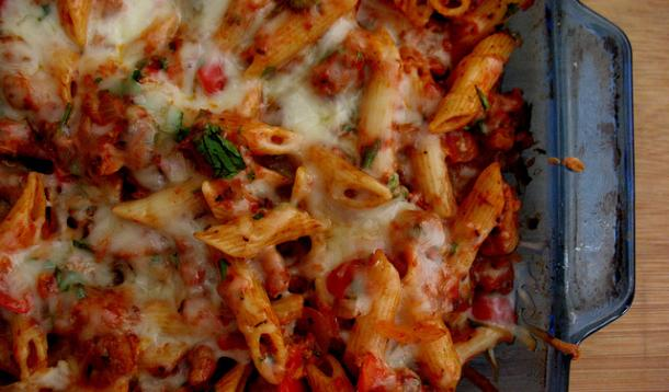 Italian Spicy Sausage Penne Bake Recipe