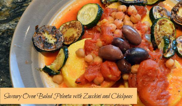 polenta with chickpeas, zucchini, and black olives