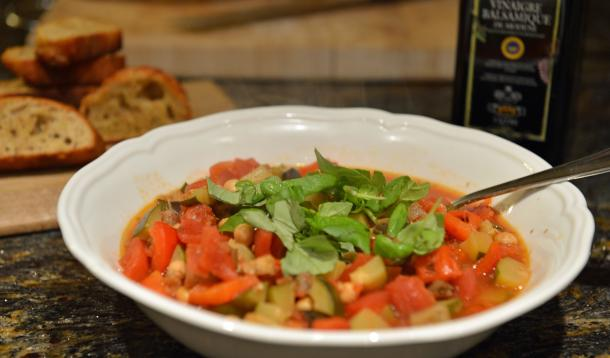 bowl of ratatouille with garlic croutons