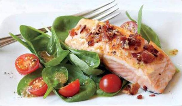 Roasted Salmon, Bacon and Spinach Salad Recipe