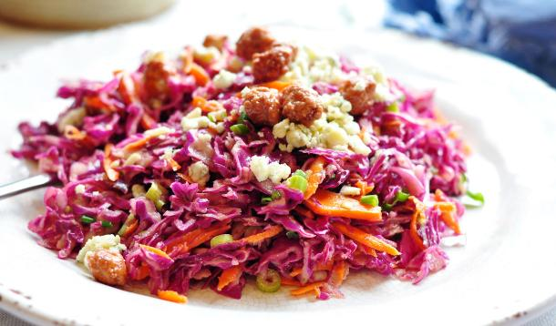 Red Cabbage Slaw with Candied Nuts and Blue Cheese