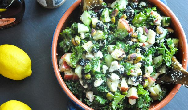 Massaged Kale Salad with Dijon Maple Syrup Vinaigrette