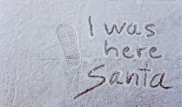 santa was here - written in snow