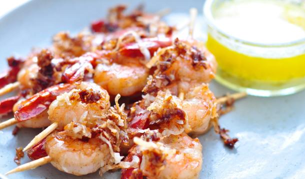 Coconut Jerk Shrimp Skewers with Lime Butter Dip