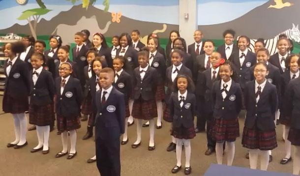 kids choir singing Pharrell's song Happy