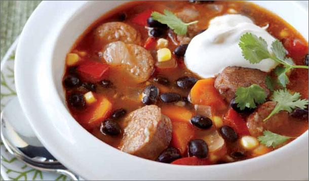 For a Mexican-style garnish, top this hearty soup with sour cream ...