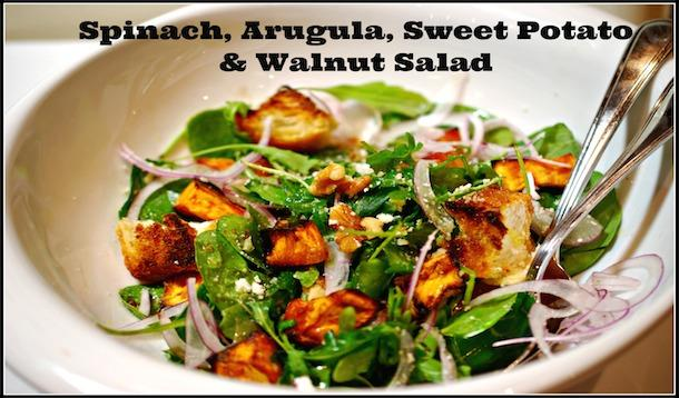 Spinach, Arugula, & Walnut Salad With Homemade Croutons