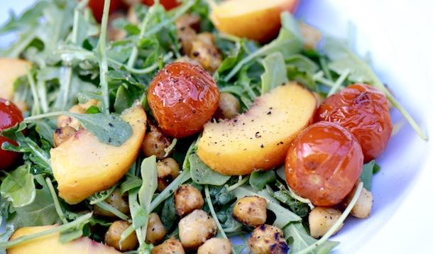 Peaches, Arugula, Toasted Cherry Tomatoes & Chick Peas
