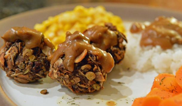 lentil mushroom pecan almond balls with mushroom gravy
